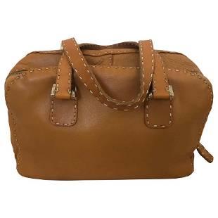 Fendi Tan Grain Leather Selleria Wide Top Stitch