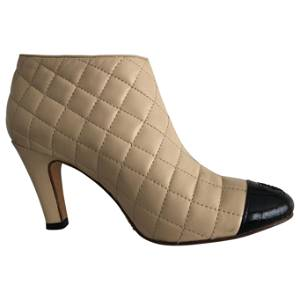 Chanel Quitted Leather Ankle Boots Size 38