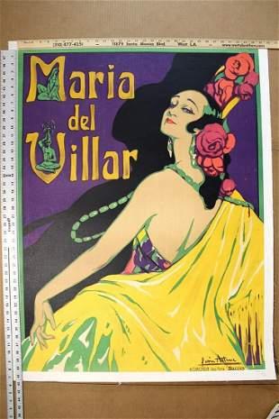 """Maria Del Villar (1925) Art by Leon Astruc 40.9"""" x"""