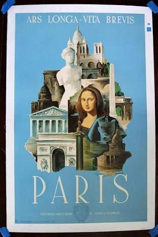 """Paris Ars Longa - Art by Marton (1936) 24.5"""" x 39"""""""