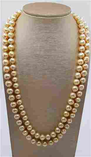 10x12.5mm South Sea Pearls Gold - Necklace
