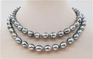 8.5x11mm Silvery Green Tahitian pearls - Necklace