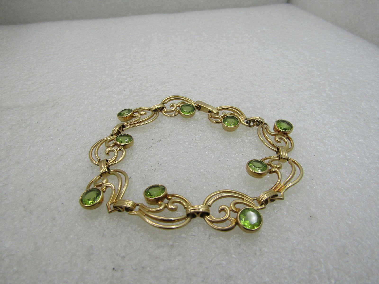 "Vintage 14kt Peridot Scrolled Bracelet 7.25"", 15.03 gr."