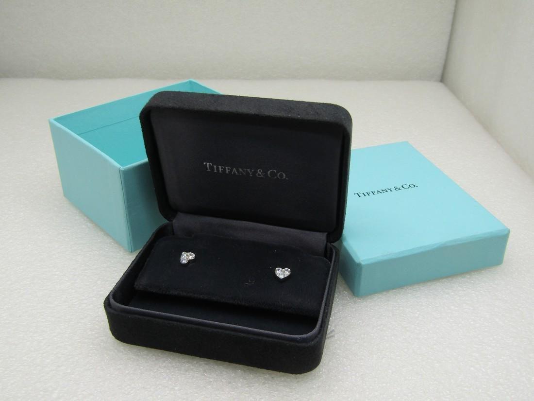 Tiffany Platinum Diamond Heart Earrings, .37 ctw,