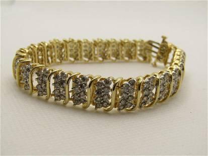"""Vintage 14kt Jafa Diamond Tennis Bracelet, 7.25"""", 4"""