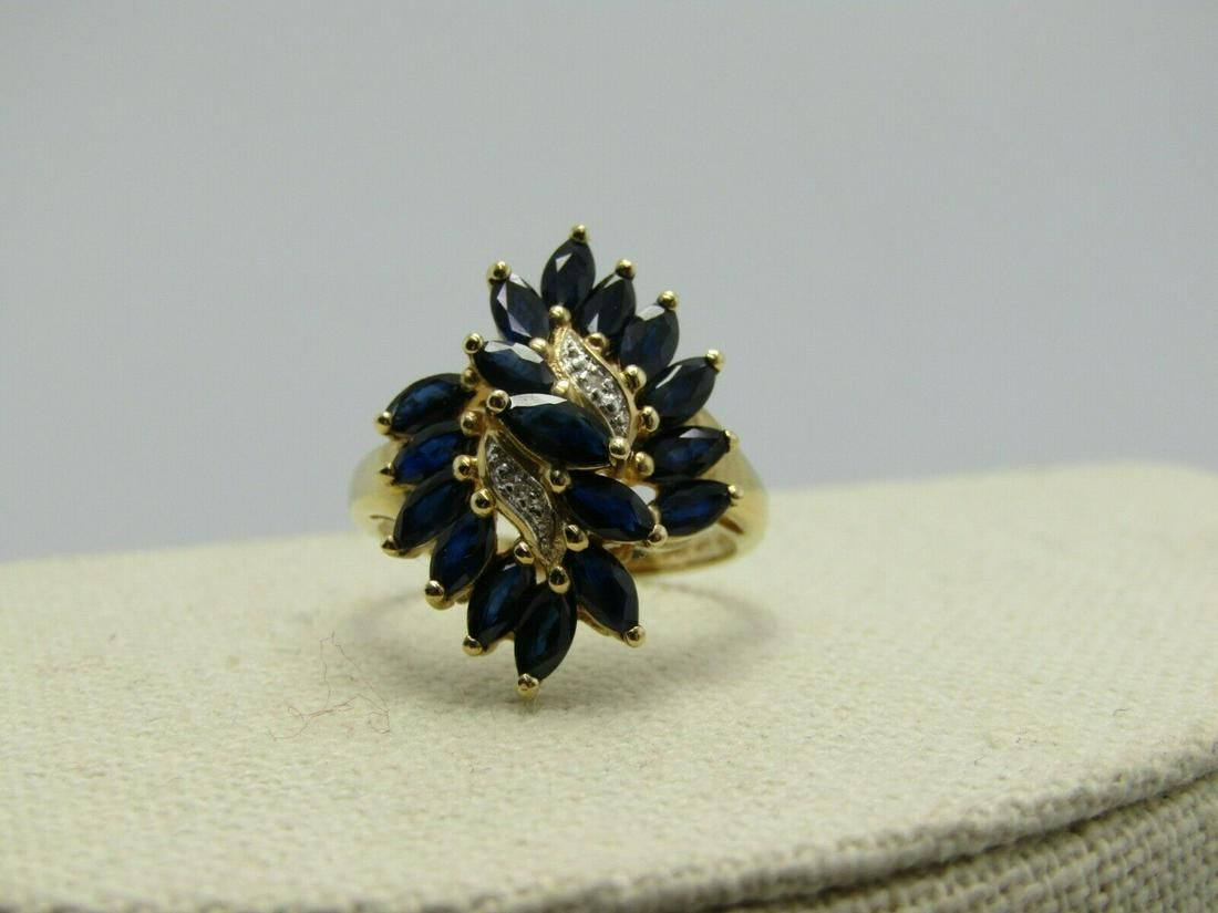 10kt Blue Marquise Spinel Ring With Diamonds TCW of 1.7