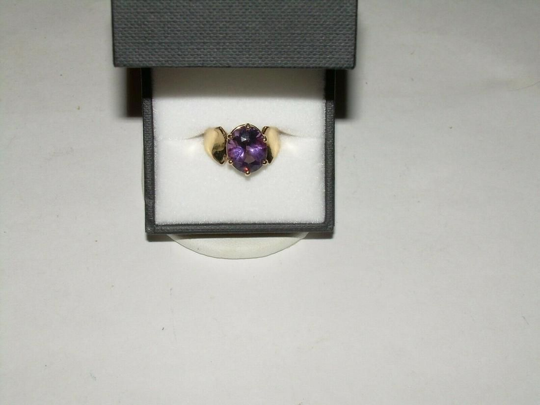Vintage 14kt Gold Amethyst Ring, 3.85 Carats, Size 5,