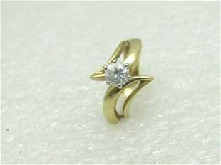 Vintage 14kt CZ Modern Engagement Ring, Solitaire, Sz