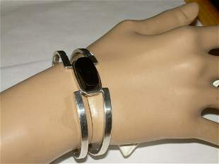 Vintage Sterling Onyx Cuff Bracelet, 33.7 Grams