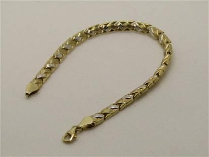 "10kt Two-Tone Woven Tennis Bracelet, 5mm, 7.25"", Signed"