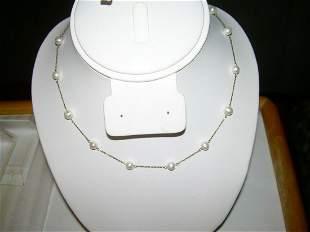 """10kt Gold Freshwater Pearl Necklace; Signed JCM - 16"""""""