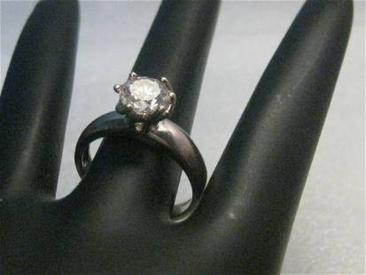 Silver CZ Engagement Ring, Iridescent Hue on Band, Sz.