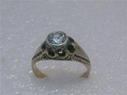 Vintage 12kt Art Deco Engagement Ring, Moissanite?,