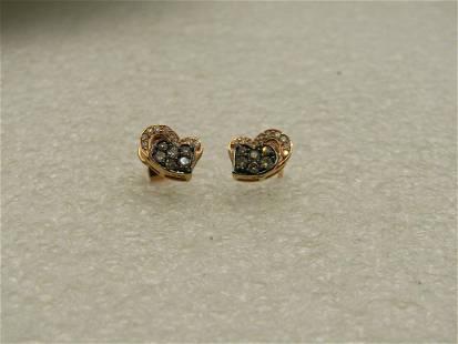 14kt Levian Cognac & White Diamond Heart Earrings, Rose