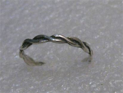 Vintage Sterling Silver Interwined Band/Ring, 2.5mm
