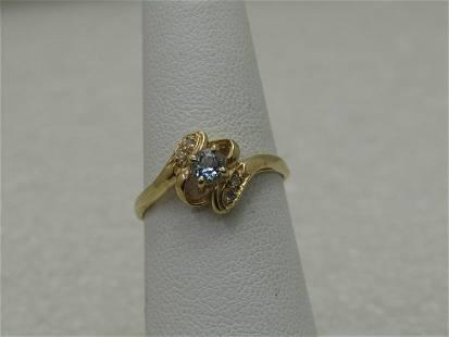 10kt Aquamarine Diamond Bypass Ring, Sz. 6., Appx. 1.58