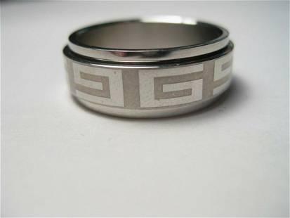 Stainless Greek Key Spinner Wedding Ring, Men's/Unisex,