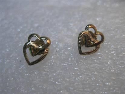 """14kt Gold Heart Pierced Earrings, Interlocked, 3/4"""","""