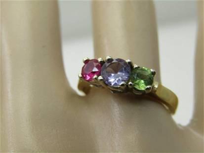 Vintage 14kt Sapphire, Ruby, Tourmaline Ring, Sz. 7.5