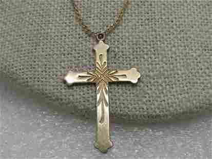 Vintage 12kt G.F. Cross Necklace, 14kt G.F. 18 Chain,