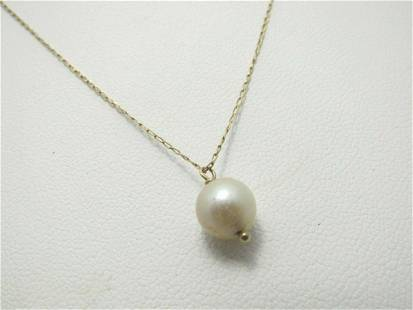 """14kt Pearl Necklace, 17"""", 6.9mm Pearl, Signed with Key"""