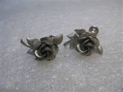 Vintage Sterling Silver Rose Earrings, singed A & Z, 5