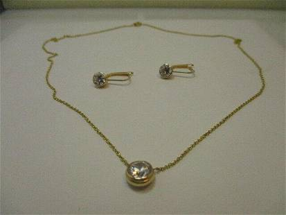 """14kt Gold Cubic Zirconia 18"""" Necklace and Pierced"""