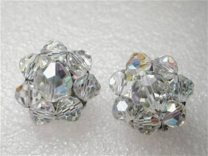 Vintage Silver Tone Rhinestone Cut Crystal Stud Clip