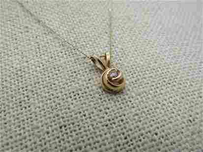 """Vintage 14kt Diamond Love Knot Necklace, 16"""", Zales"""