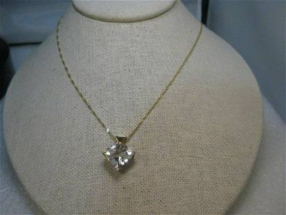 """14kt Solid Gold White Topaz Necklace, 24"""" white, 14.5mm"""