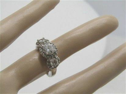 Sterling Silver CZ Engagement Ring, Triple Stones, Size