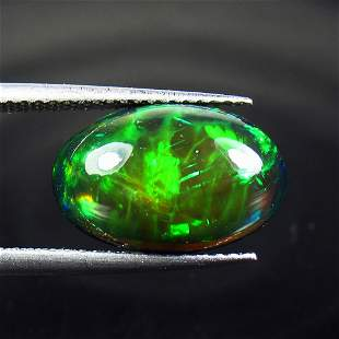 3.65 Ct Natural Ethiopian Black Fire Opal Oval Cab