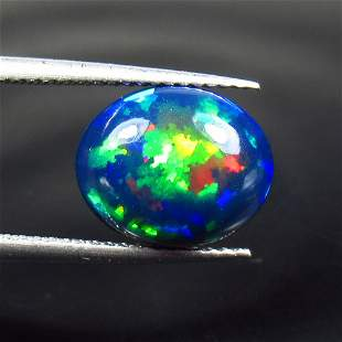 2.74 Ct Natural Ethiopian Black Fire Opal Oval Cab