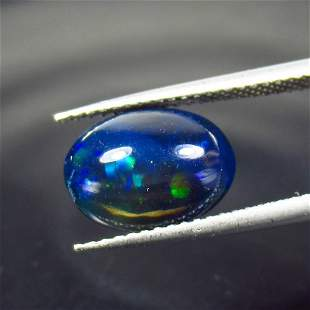 2.68 Ct Natural Ethiopian Black Fire Opal Oval Cab