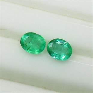 0.71 Ct Natural Zambian Emerald Oval Pair