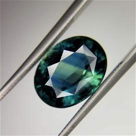 5.83 Ct Weight Oval Shaped Geen-blue or blue-green