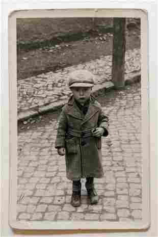 1936 LITTLE BOY in UNIFORM HAT w AERO POST TEXT, LONG