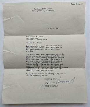 1947 JAMES ROOSEVELT AUTOGRAPH ALS LETTER son of
