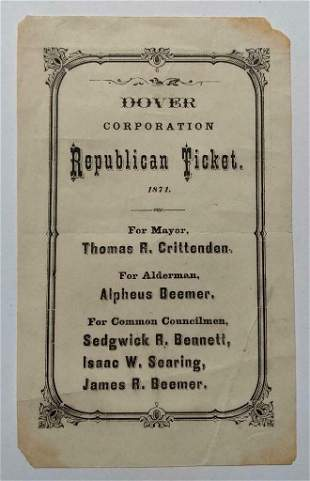 1871 REPUBLICAN TICKET for MAYOR THOMAS CRITTENDEN etc.