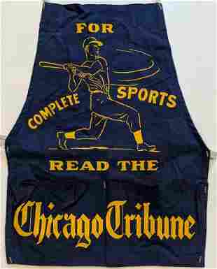 c 1950 CHICAGO TRIBUNE SPORTS NEWSPAPER CANVAS APRON w