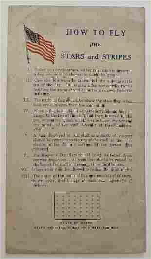 c1912 VINTAGE US FLAG PATRIOTIC INSTRUCTION SHEET HOW