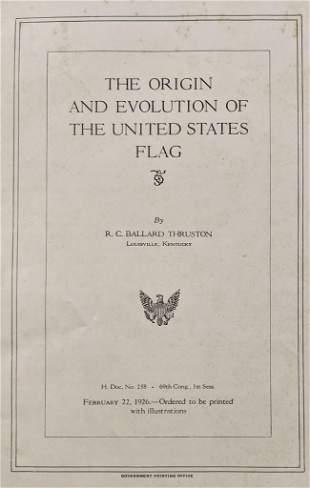 1926 THE ORIGIN & EVOLUTION of the UNITED STATES FLAG