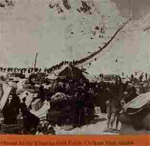 1898 KLONDIKE GOLD RUSH STEREOVIEW, CHILKOOT PASS,