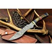 Exclusive pattern bowie hunting damascus steel knife