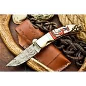 Folding hiking work damascus steel knife corian pocket