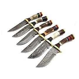 6 pcs SET handmade damascus steel knife stag knives