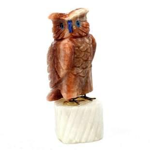 Sardonyx onyx stone crystal mineral owl bird statuette