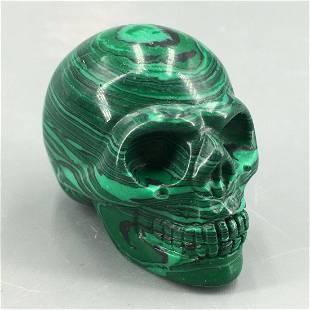 "2"" malachite stone Quartz Crystal skull Carved Skull"