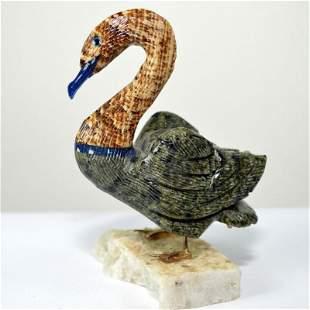Mineral natural stone colectible nephrite bird figurine