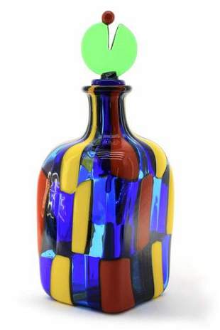Murano glass bottle pezzato signed